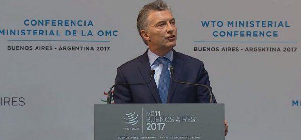 El presidente, Mauricio Macri, encabezó la apertura de la cumbre de la OMC