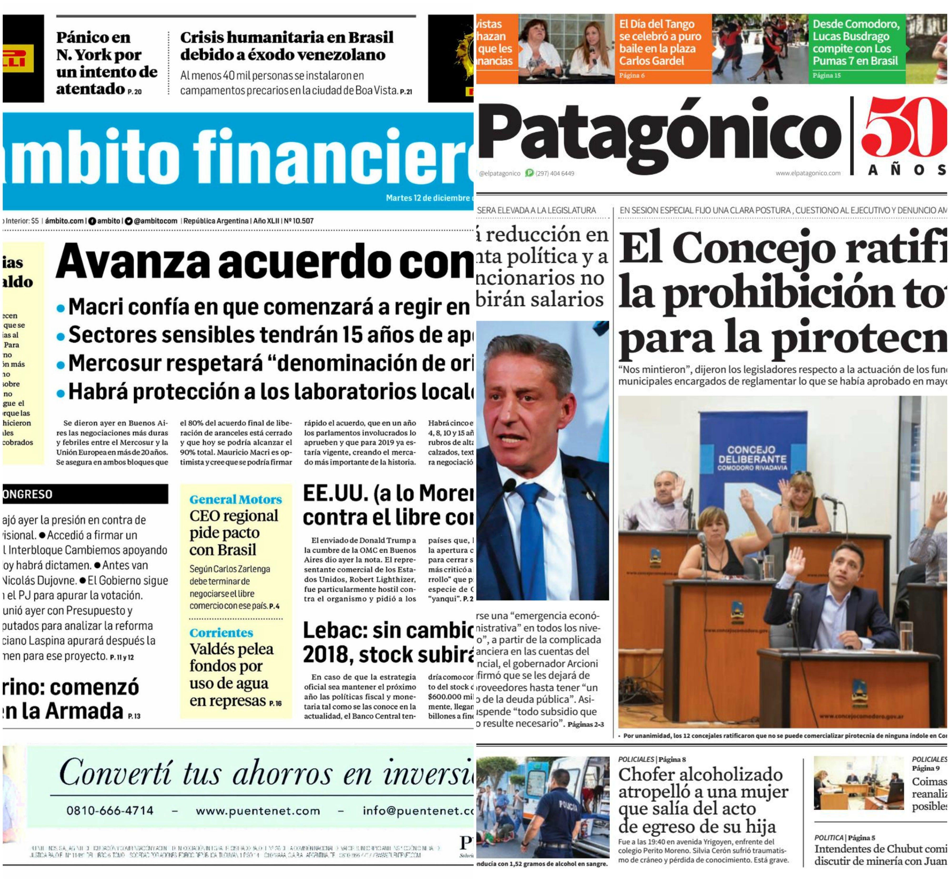 Tapas de diarios del martes 12 de diciembre de 2017