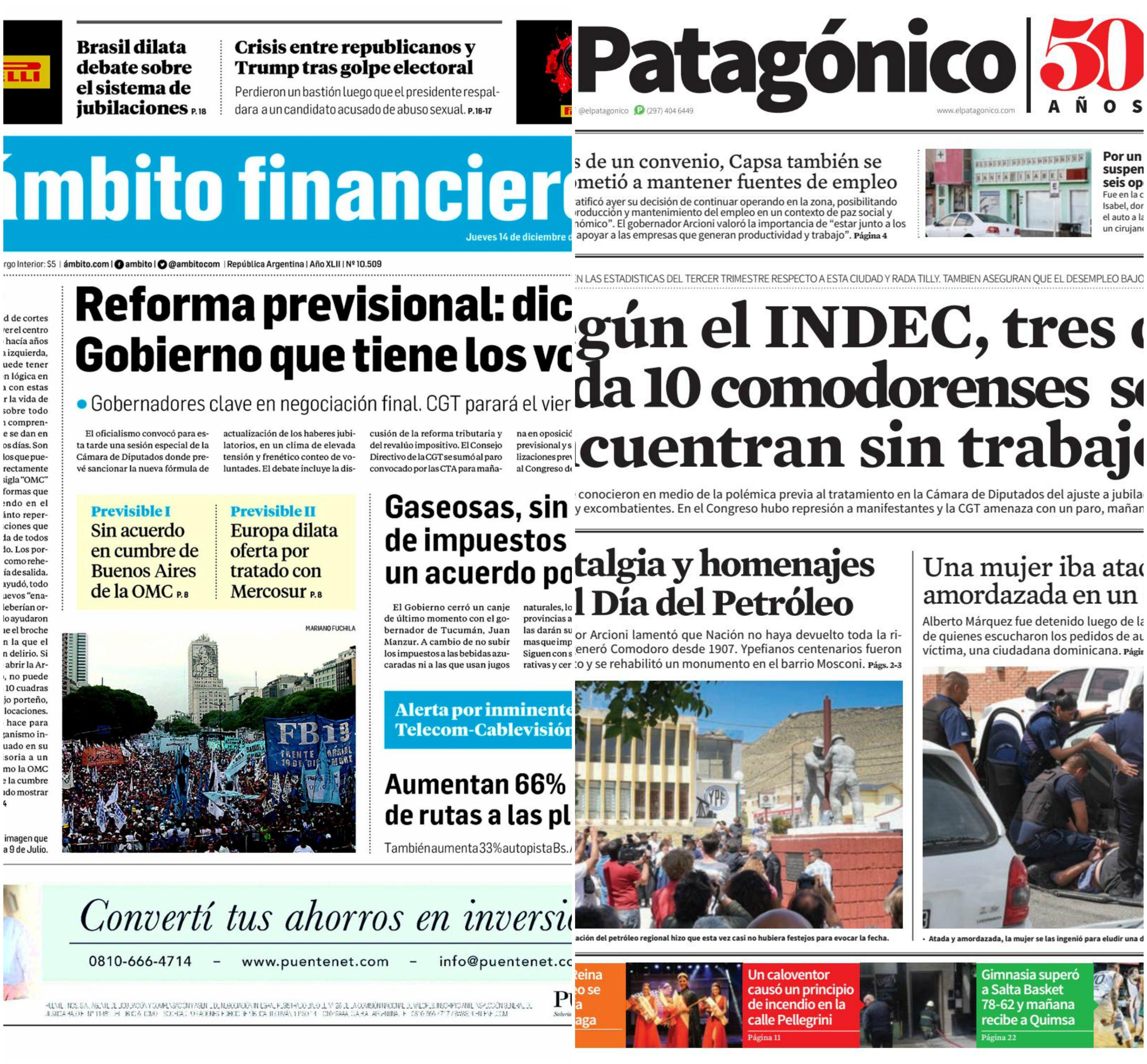 Tapas de diarios del miércoles 14 de diciembre de 2017