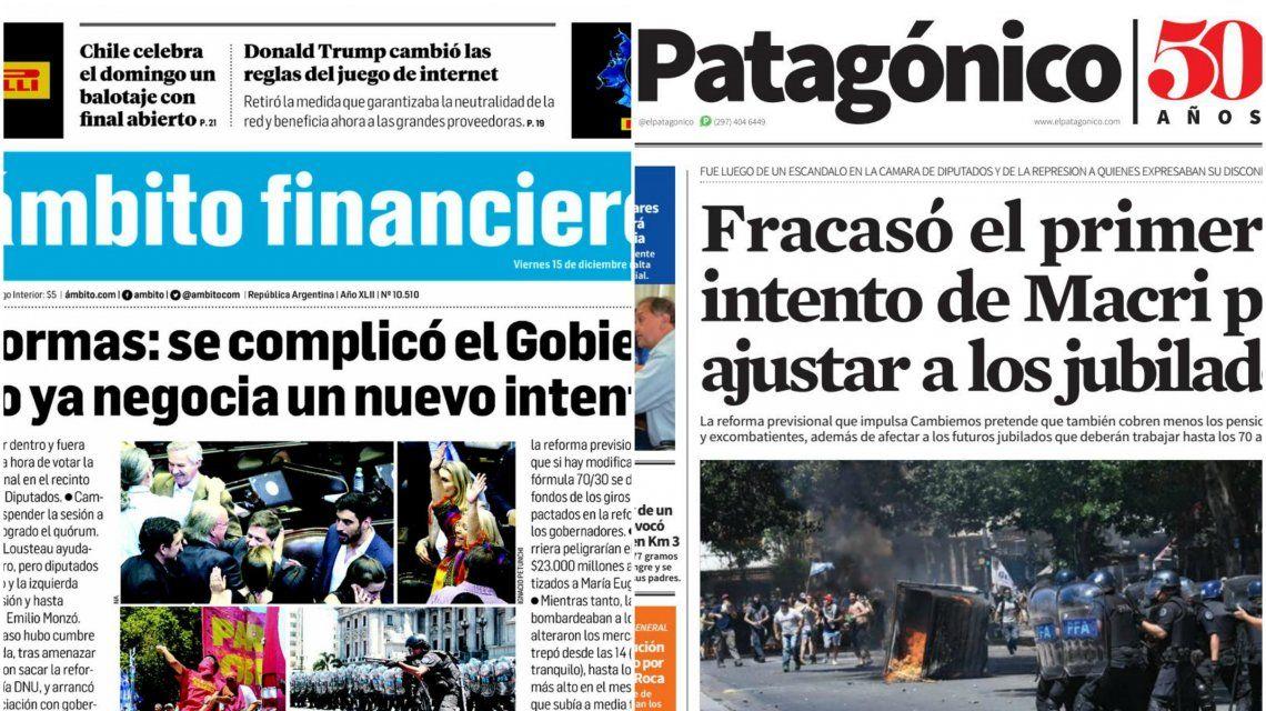 Tapas de diarios del viernes 15 de diciembre de 2017