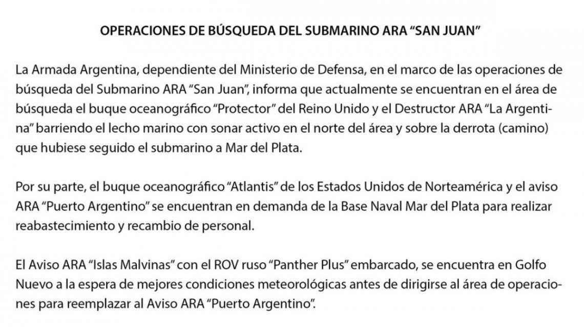 La Armada continúa con la búsqueda del submarino ARA San Juan