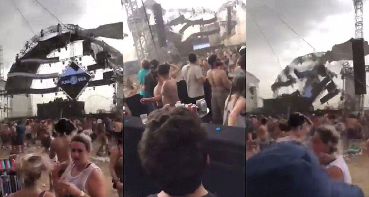 VIDEO: Un DJ murió aplastado por un escenario a causa de una fuerte tormenta
