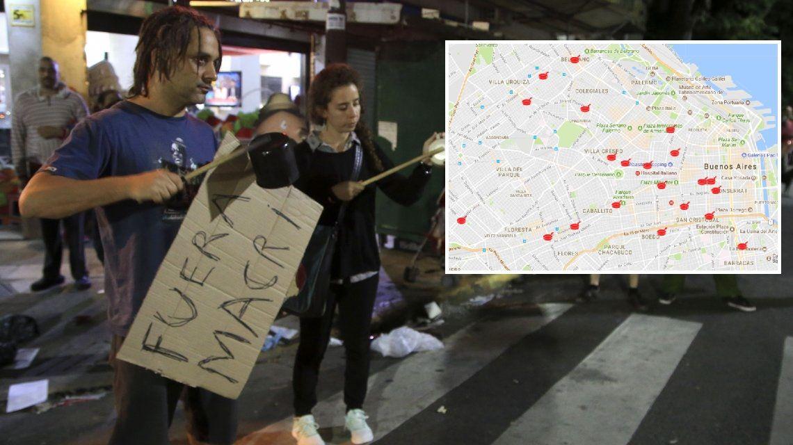 El mapa de los más de 60 cacerolazos simultáneos contra la reforma que ajusta las jubilaciones