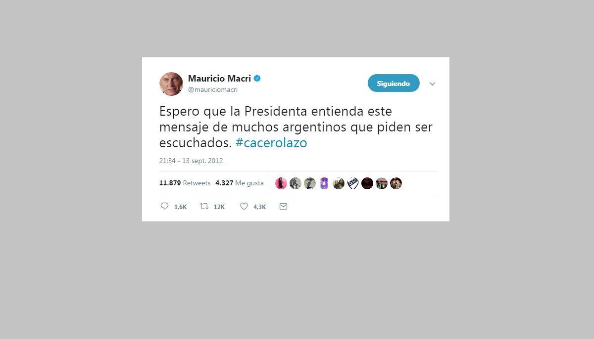 El tuit de Macri avalando el Cacerolazo
