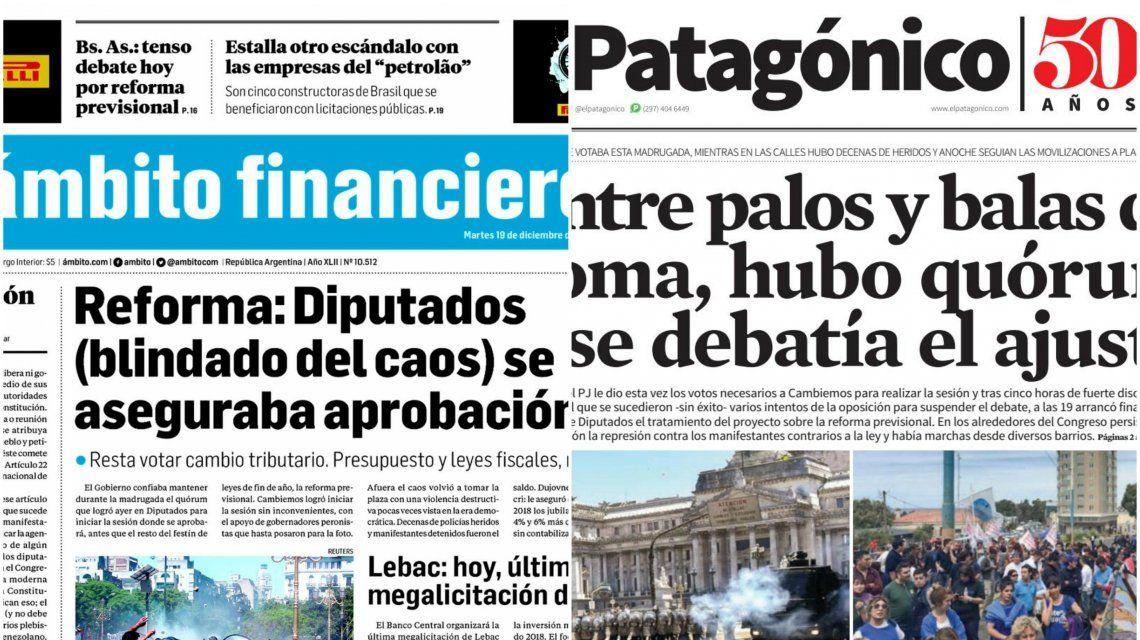 Tapas de diarios del martes 19 de diciembre de 2017