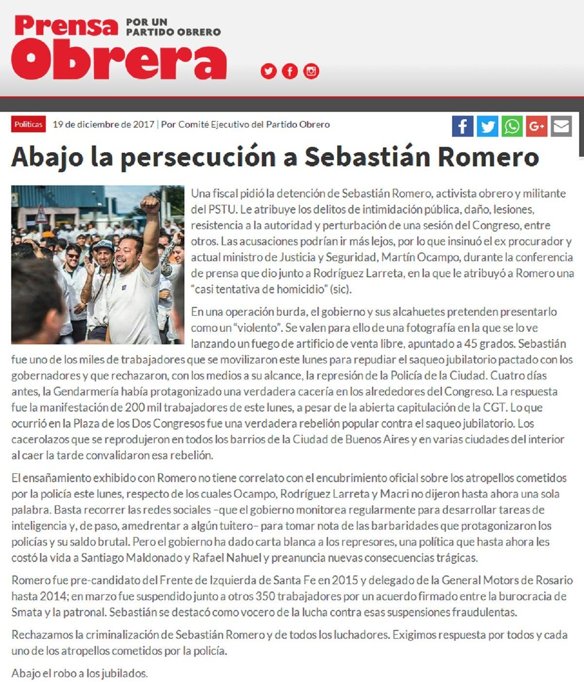 Publicación de Prensa Obrera respaldando al hombre mortero