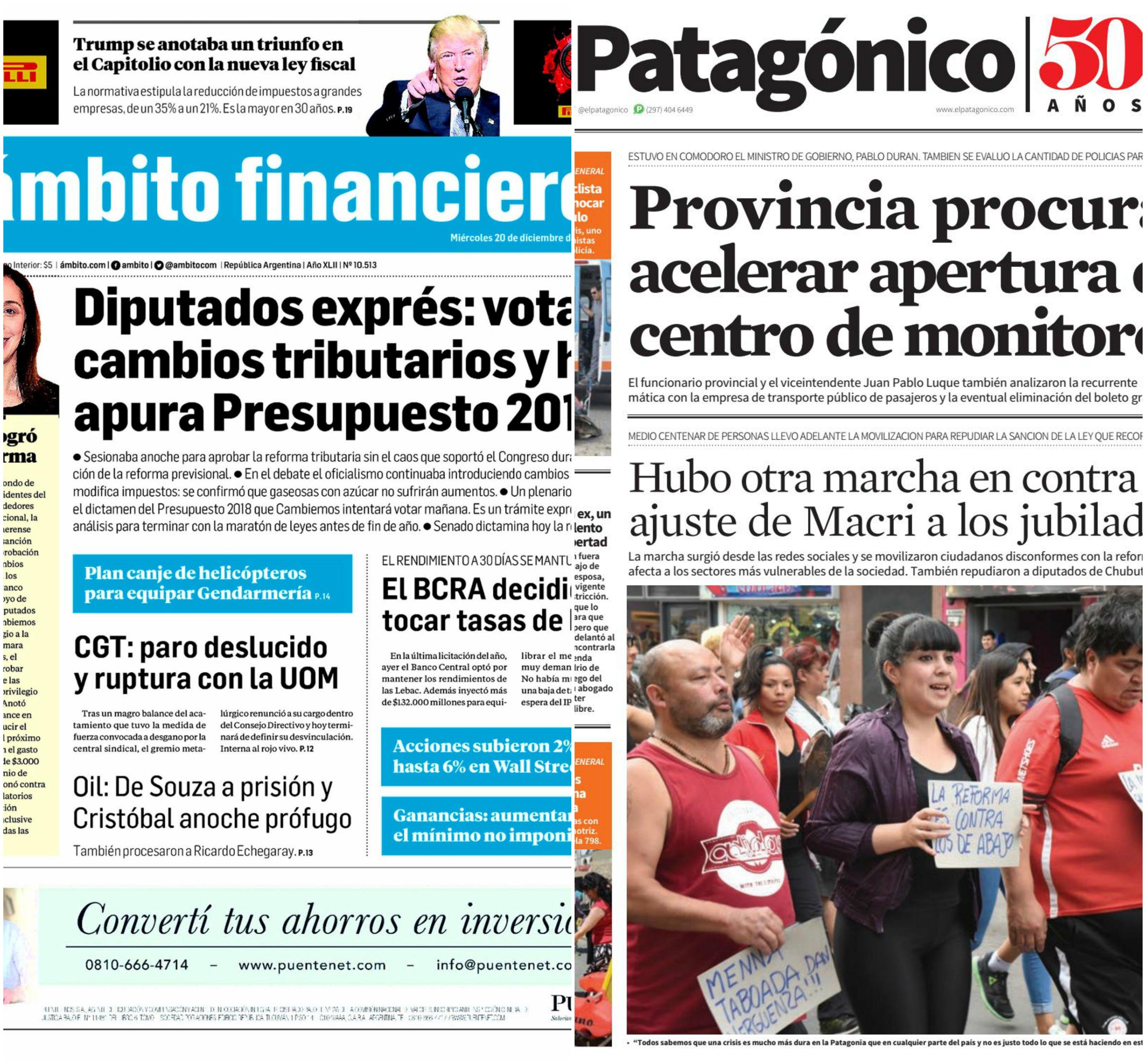 Tapas de diarios del miércoles 20 de diciembre de 2017
