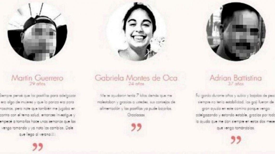 Una marca de productos para adelgazar utilizó la foto de Micaela García.