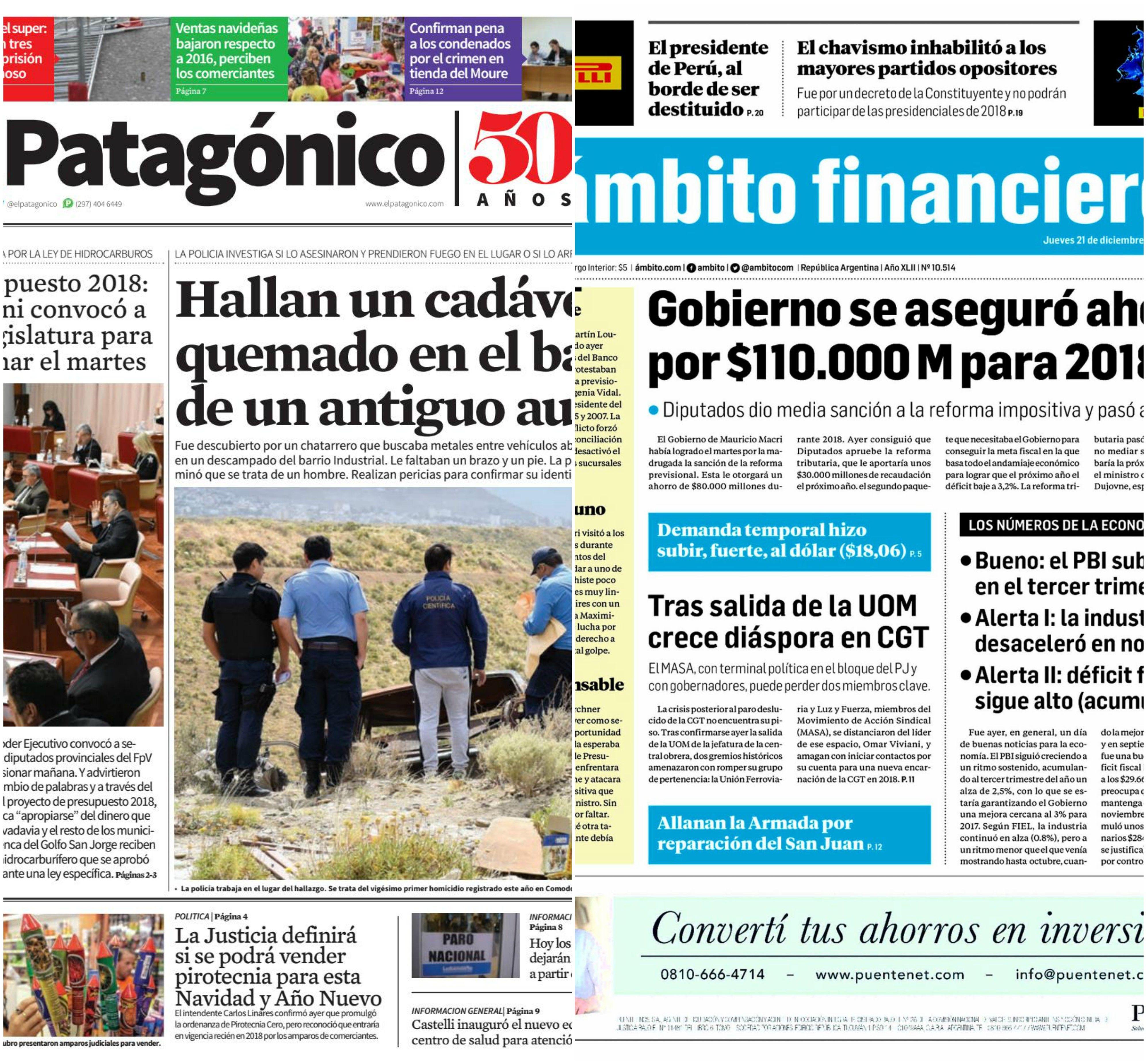 Tapas de diarios del jueves 21 de diciembre de 2017