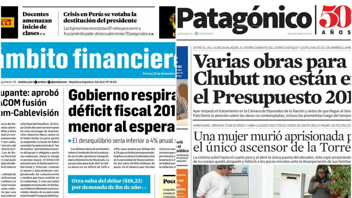 Tapas de diarios del viernes 22 de diciembre de 2017