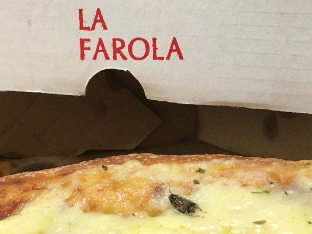 Encontraron una cucaracha en una pizza de La Farola - Credito: Faceook Rodrigo Ostan