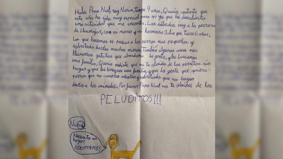 La emotiva carta a Papá Noel de una nena de 9 años: No te olvides de los peluditos