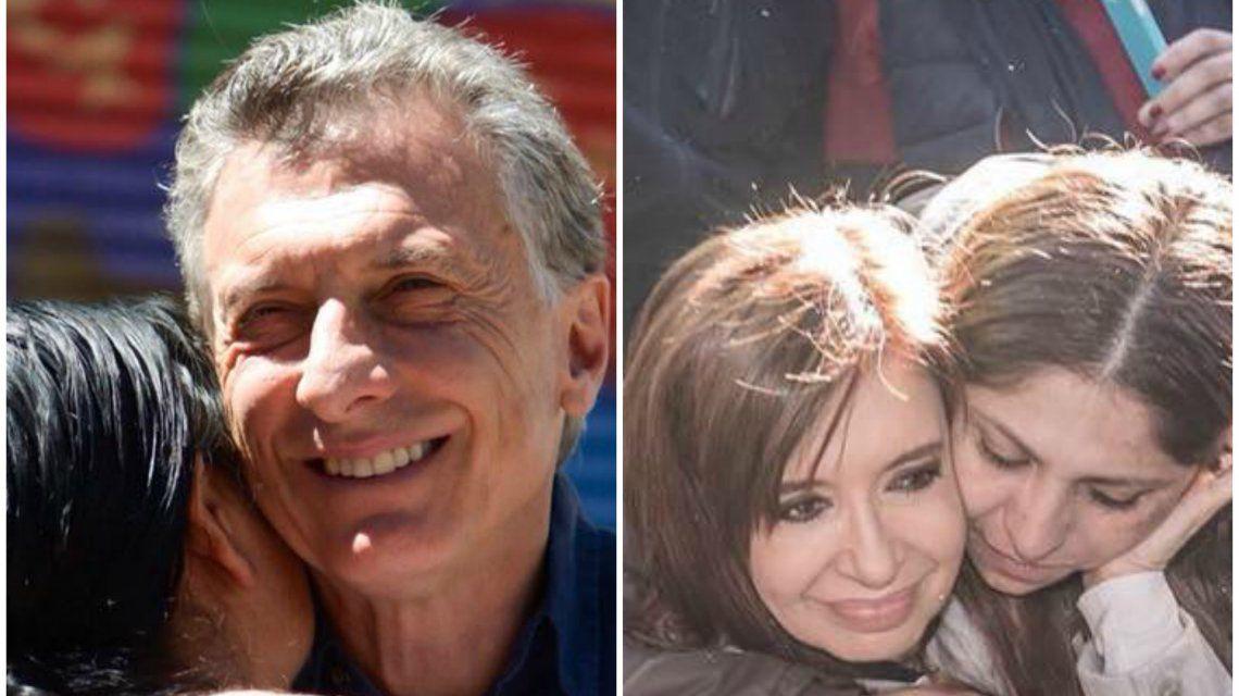 Mauricio Macri abraza a Margarita Barrientos y Cristina Fernández de Kirchner a una militante