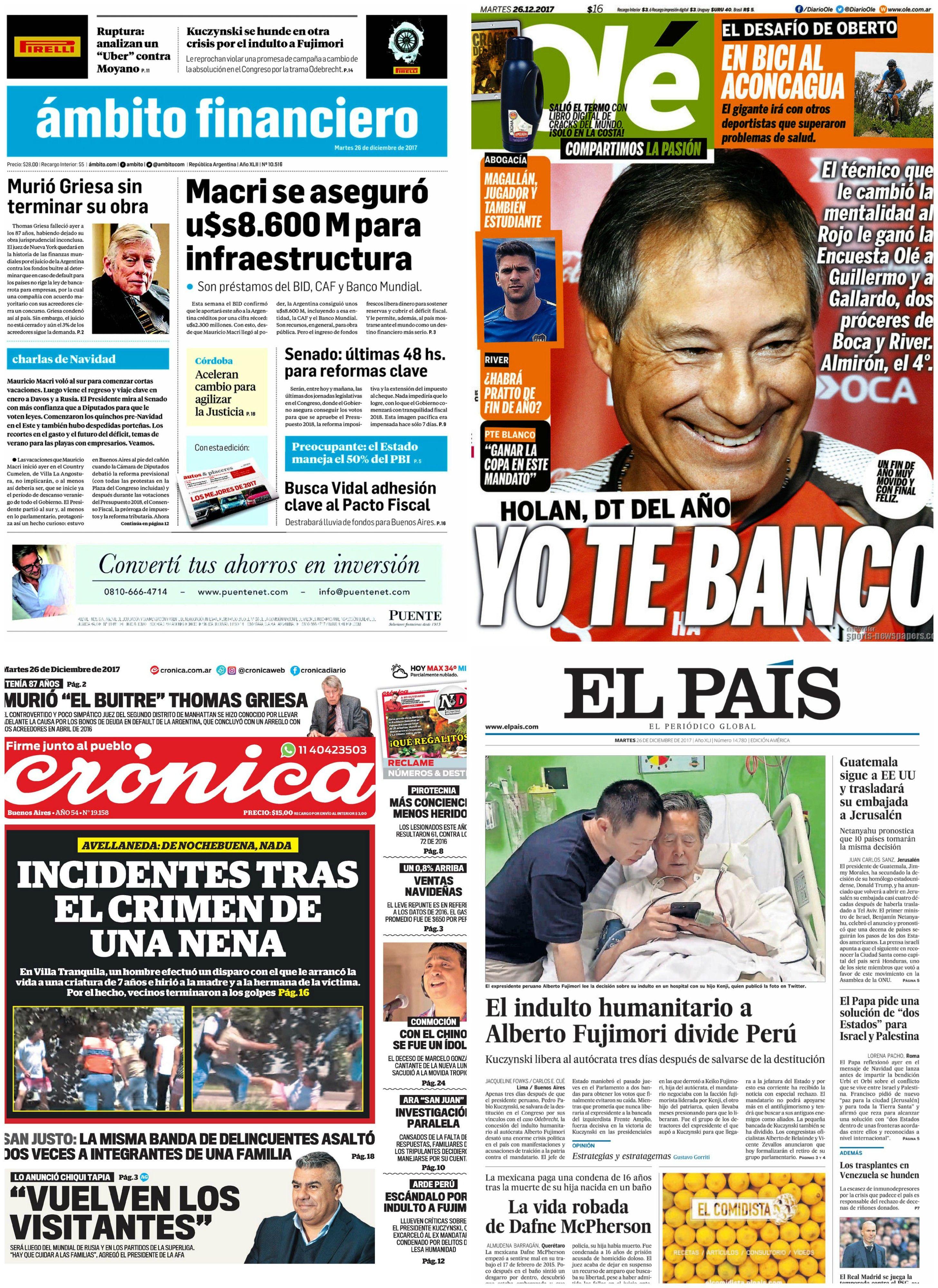Tapas de diarios del martes 26 de noviembre de 2017