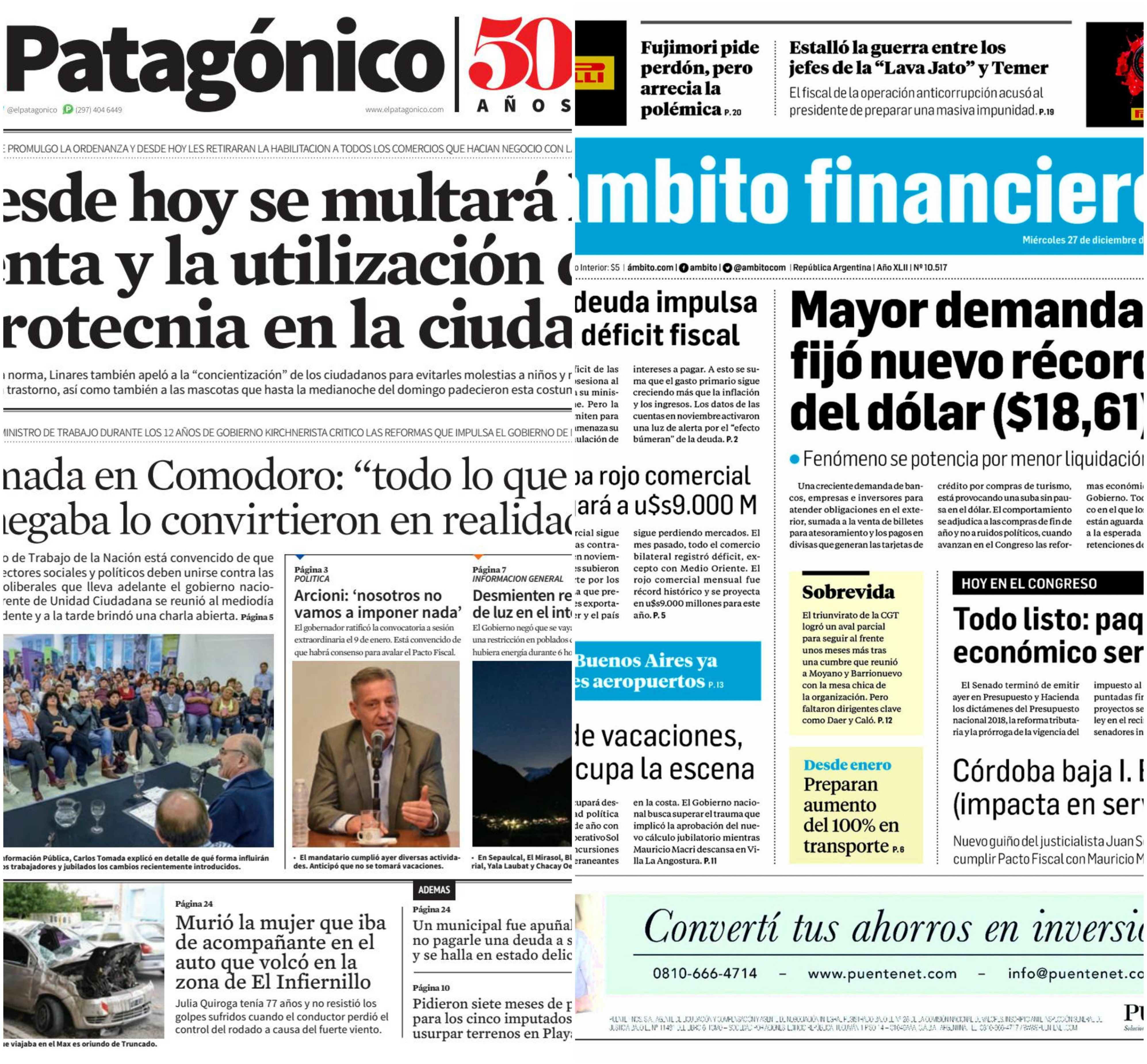Tapas de diarios del miercoles 27 de diciembre de 2017