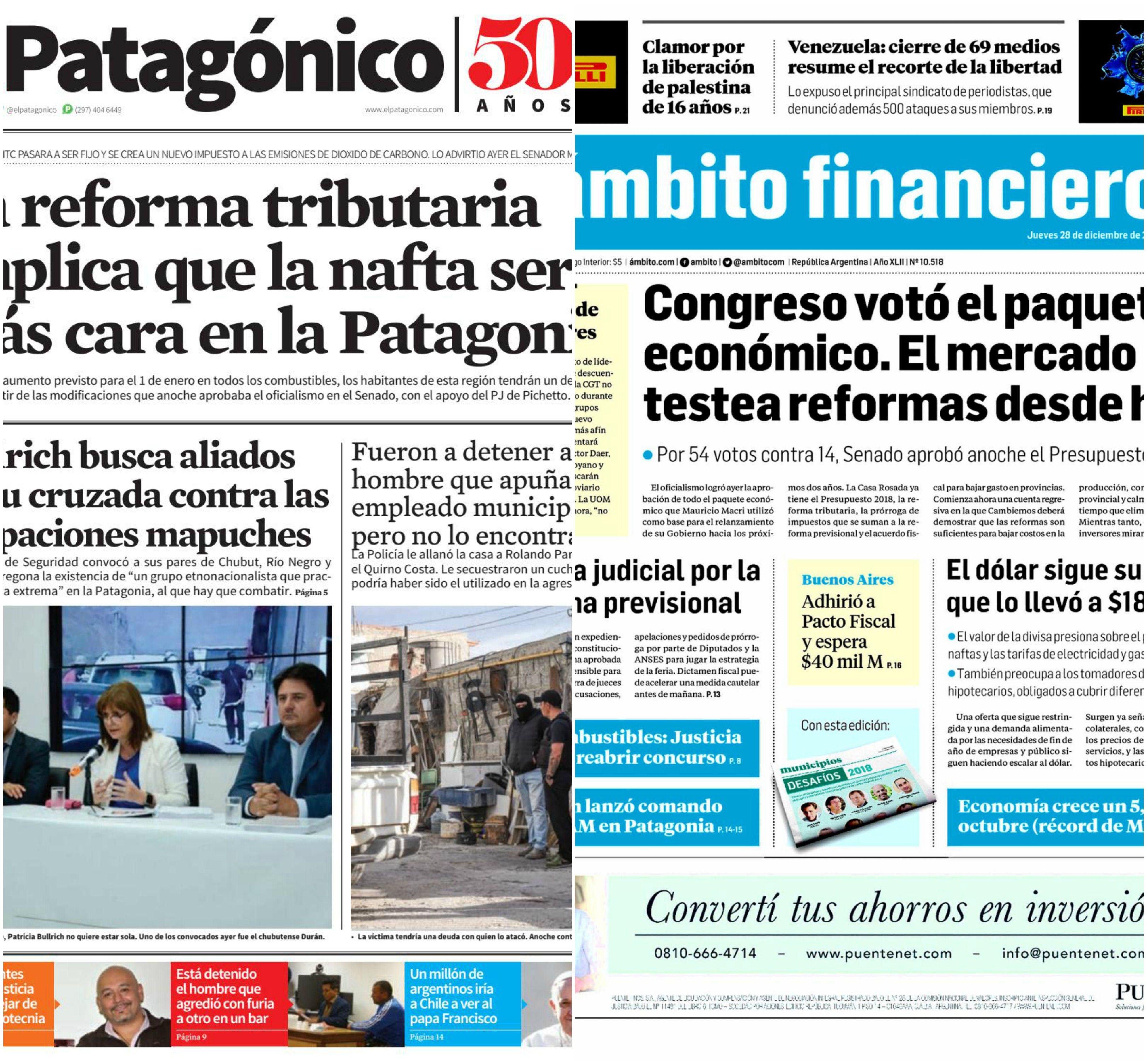 Tapas de diarios del jueves 28 de diciembre de 2017