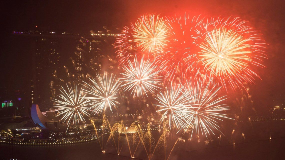 Festejo de Año Nuevo en Singapur.