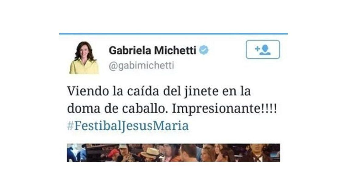 Festibal tuiteó Michetti hace casi un año