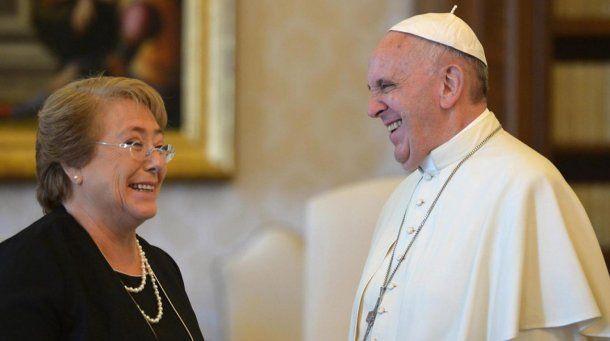 El Papa Francisco con Michelle Bachelet<br>