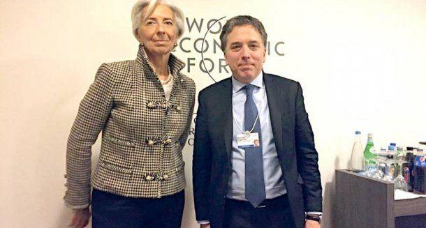 <p>La directora del Fondo Monetario Internacional, Christine Lagarde y Nicolás Dujovne</p>
