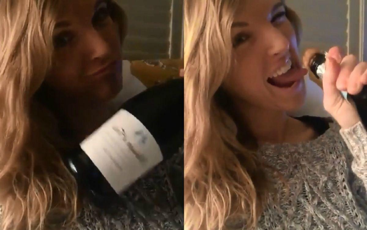 VIDEO: Se quiso hacer la sexy con una botella de champagne y cometió un doloroso error