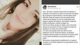 La publicación de la joven en Facebook
