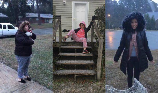 La expresiones más adorables salieron a la luz por la nieve en Florida