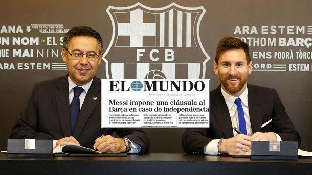 <p>Josep María Bartomeu y Lionel Messi</p>