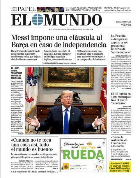 Tapa de diario El Mundo del viernes 5 de enero de 2018<br>