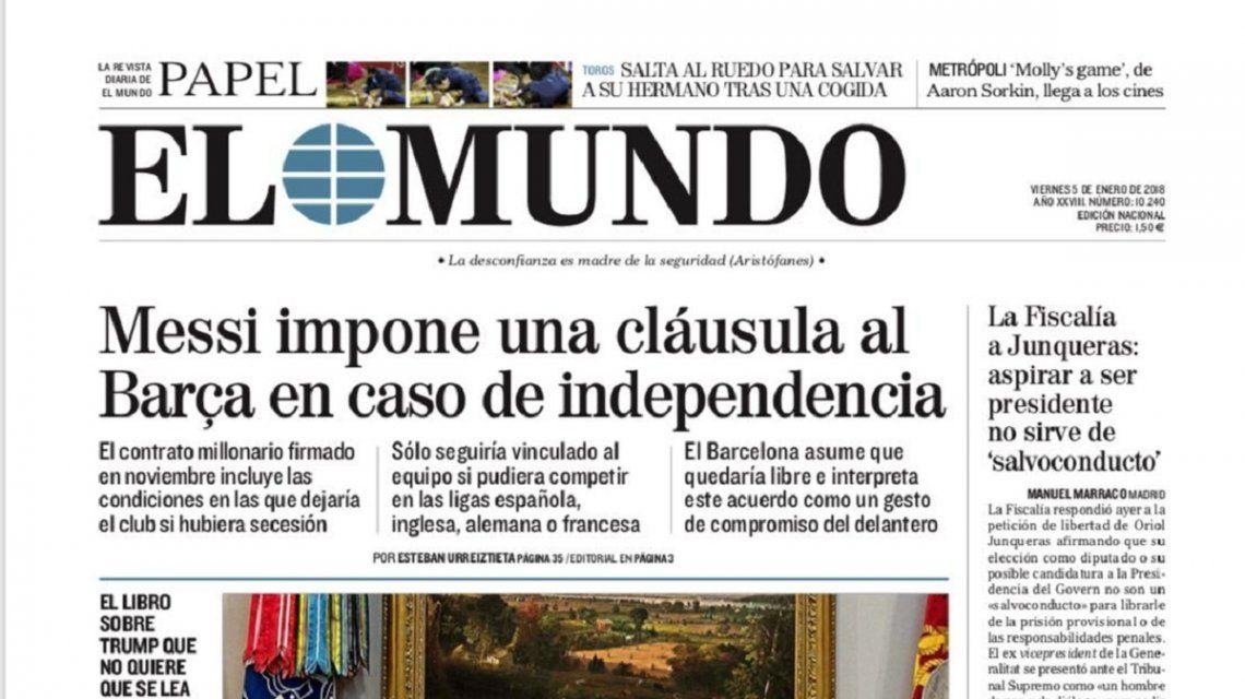 Tapa de diario El Mundo del viernes 5 de enero de 2018