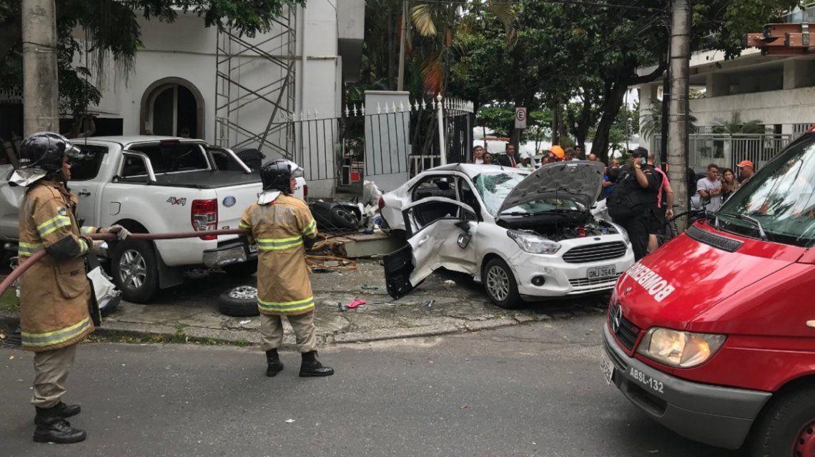 Así quedó el auto en el que iban los argentinos
