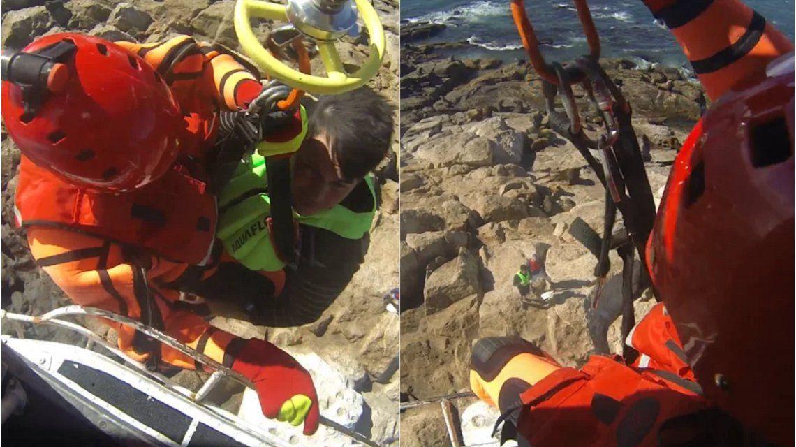 VIDEO: El impresionante rescate de dos kayakistas perdidos en el mar de Chubut