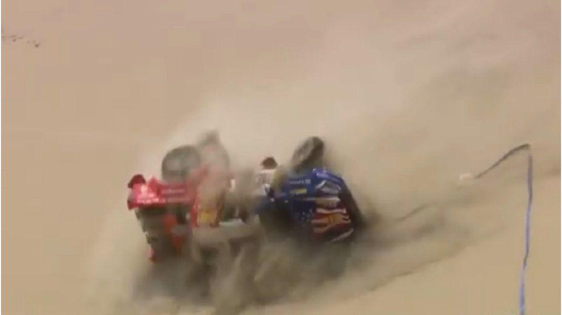 Recalde volcó en el desierto peruano durante le Rally Dakar