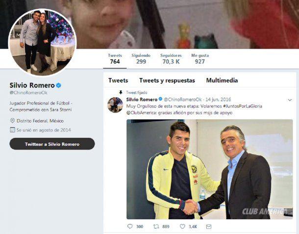 Twitter de Silvio Romero <br>