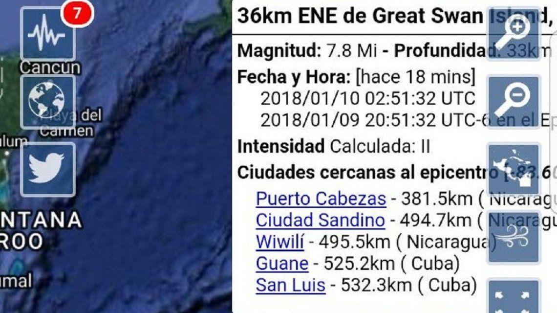 Detalles del sismo del Caribe hondureño