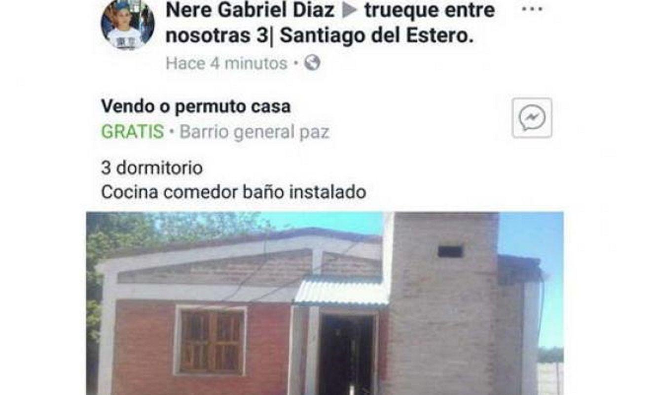 La publicación que realizó el hombre en Facebook para vender la casa.
