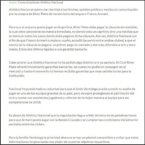 Comunicado de Atlético Nacional