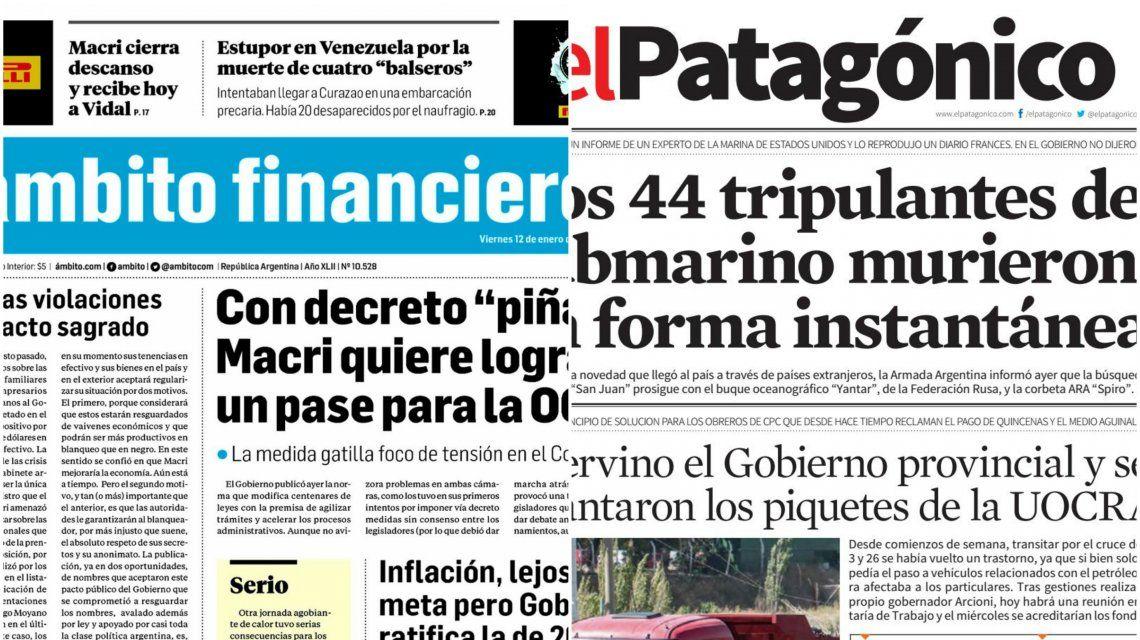 Tapas de diarios del viernes 12 de enero de 2018