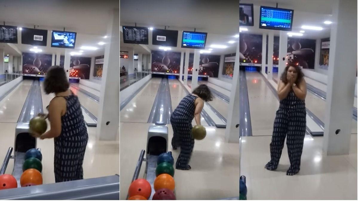VIDEO: jugó por primera vez el bowling y algo salió muy mal