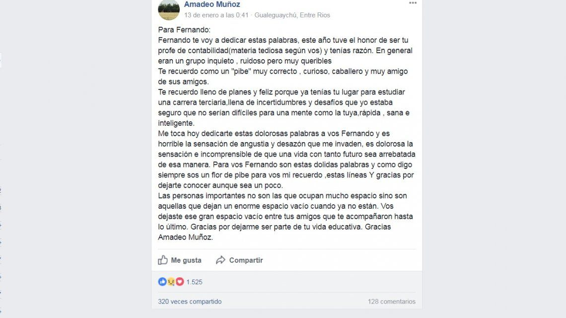 Carta para Fernando Pastorizzo