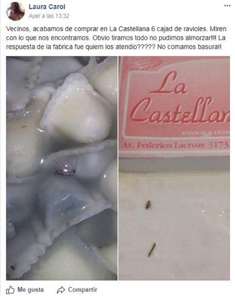 Encontraron insectos en ravioles de La Castellana - Crédito: Laura Carol