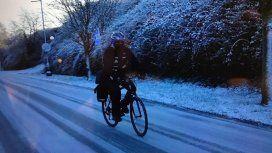 En pleno invierno, Armenault soportó nieve y hasta cinco grados bajo cero