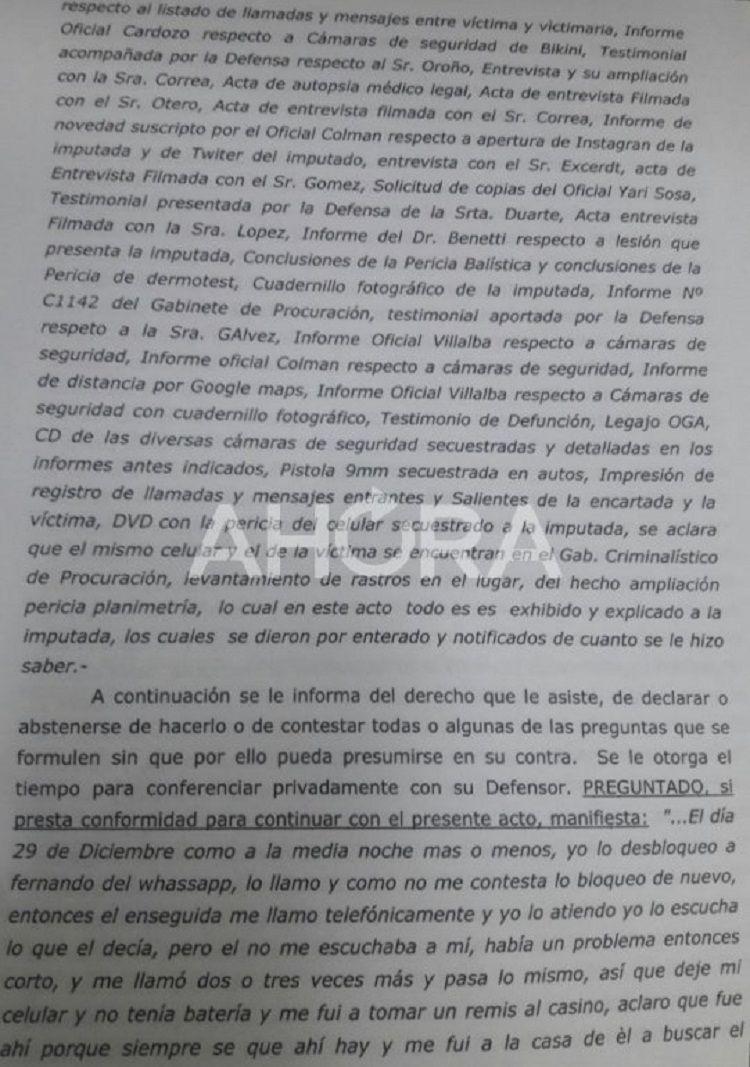 La declaración completa de Nahir Galarza como está en el expediente