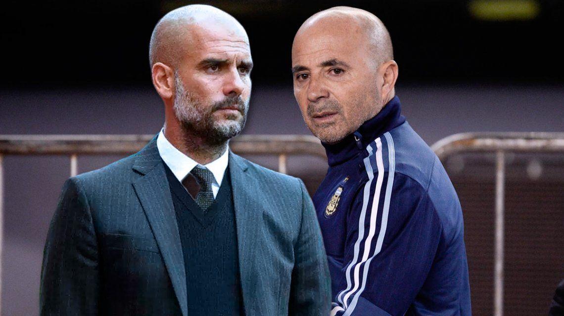 Reunión cumbre en Manchester: Sampaoli se juntó con Guardiola durante más de una hora