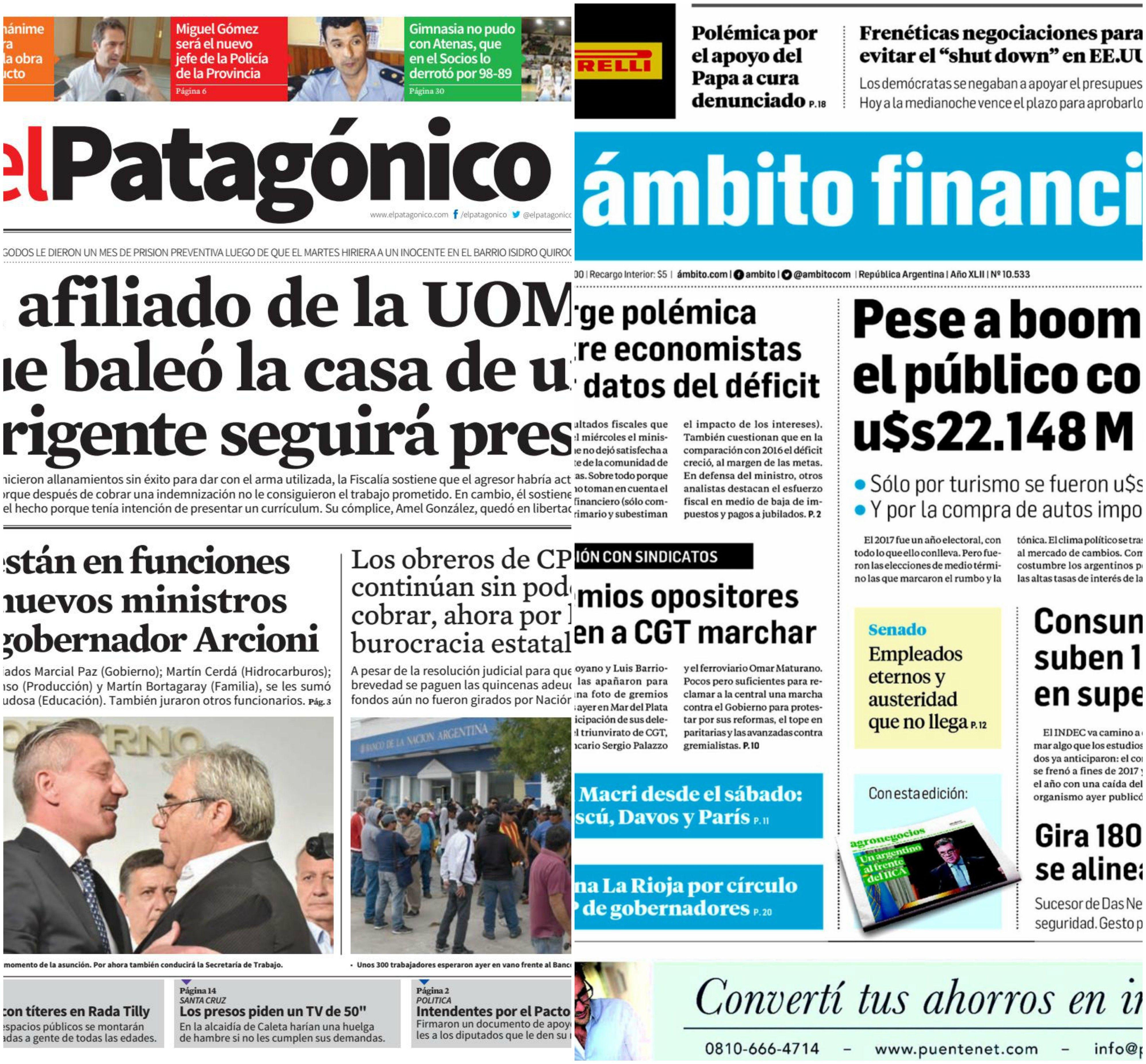 Tapas de diarios del viernes 19 de enero de 2018