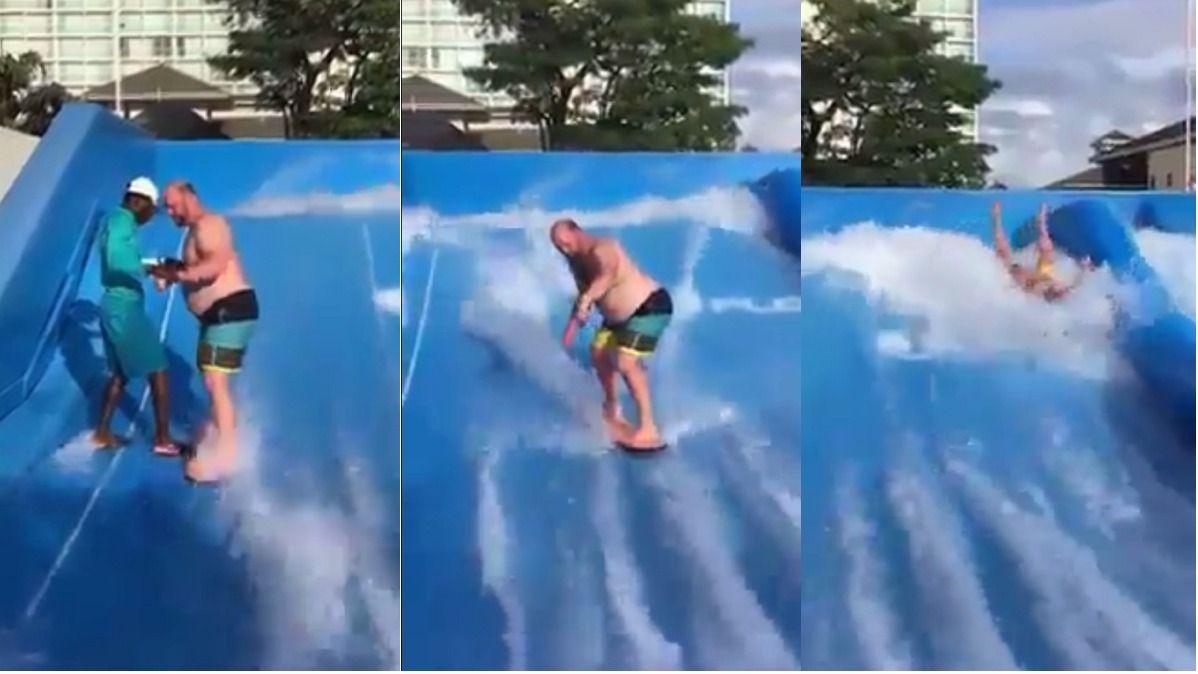 VIDEO: Quiso hacer surf en una pileta pero pasó un mal rato