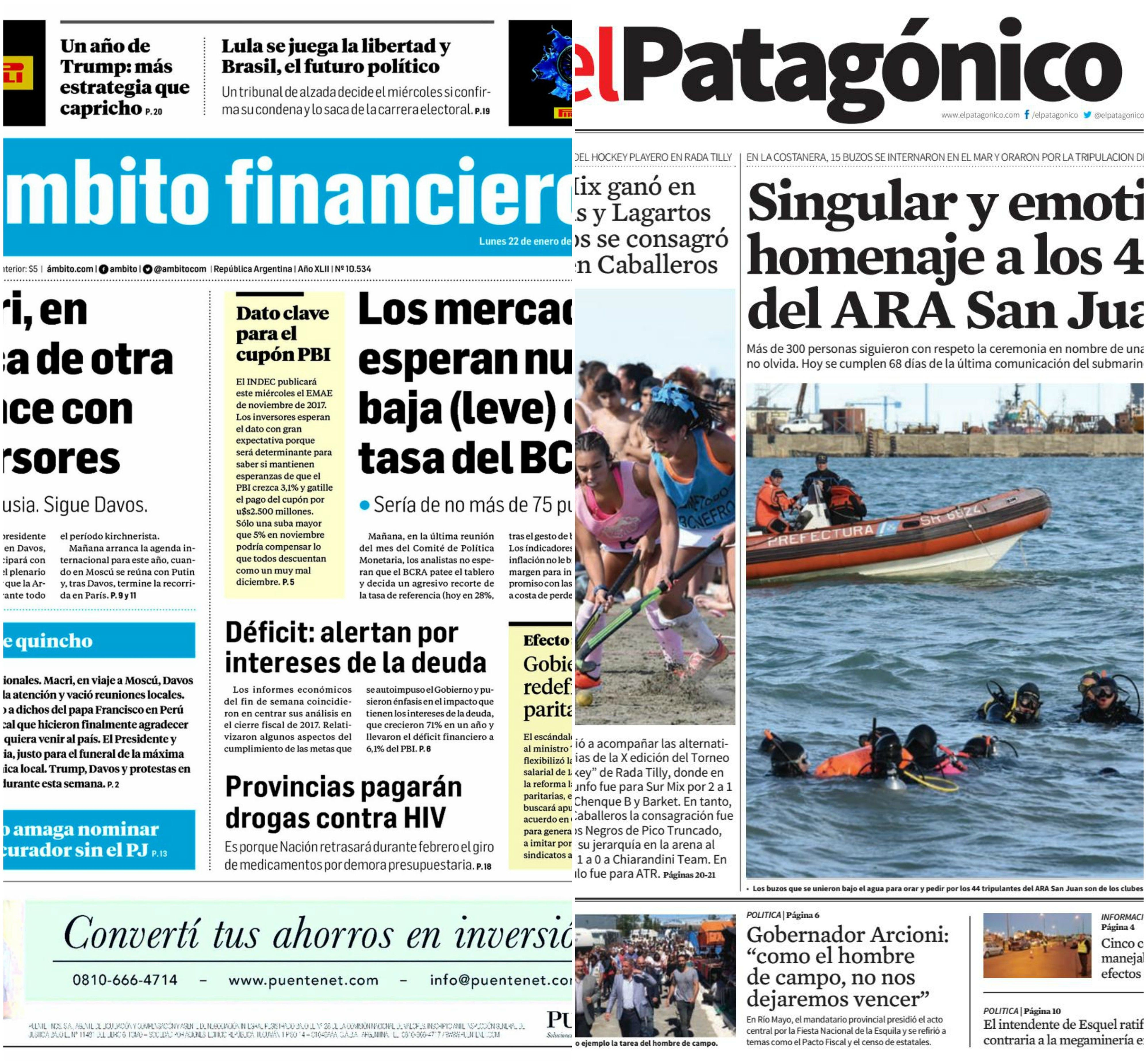 Tapas de diarios del lunes 22 de enero de 2018