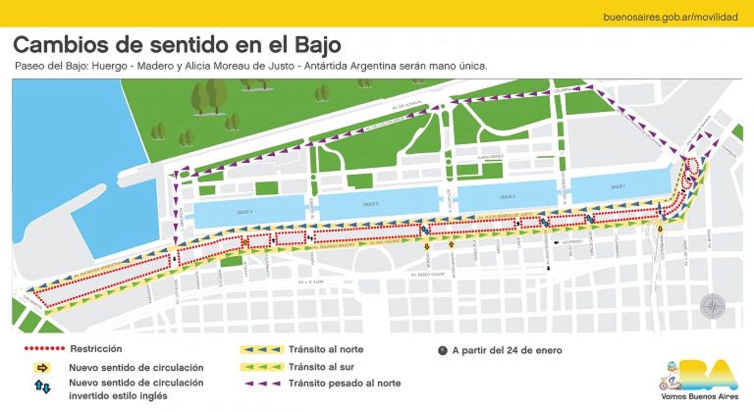 Cambios en el Bajo porteño: 14 líneas de colectivo modifican el recorrido