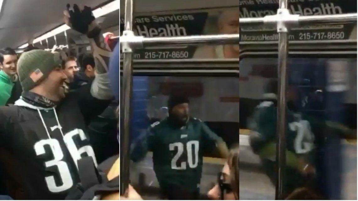 Un fanático de Filadelfia Eagles se pegó un palo en el subte