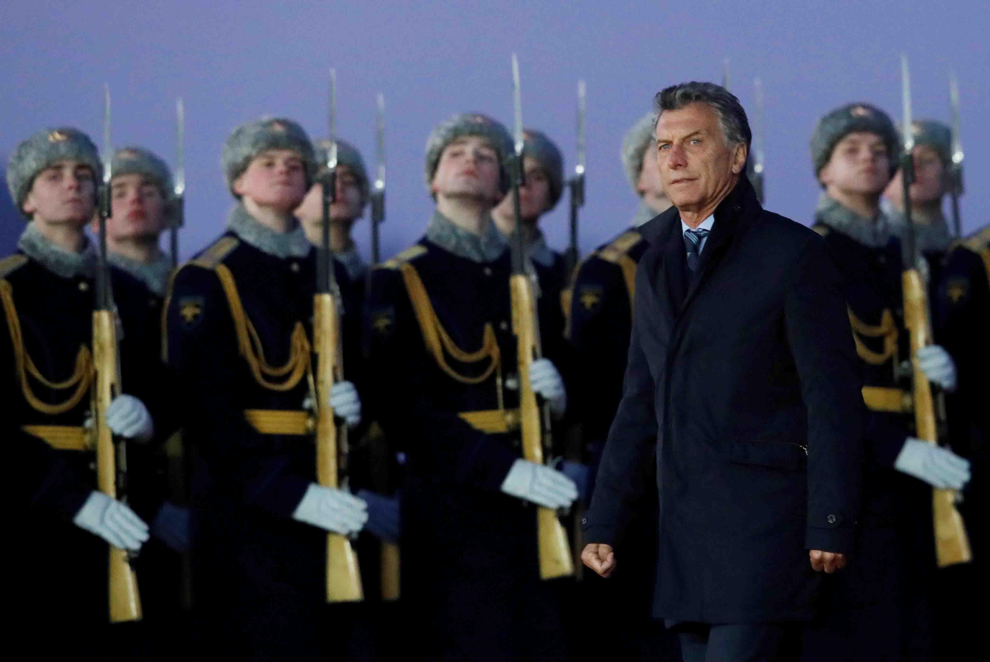 Mauricio Macri al llegar a Rusia